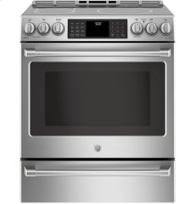 """GE Cafe™ Series 30"""" Slide-In Front Control Induction and Convection Range with Warming Drawer"""