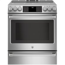 """Floor Model - Cafe Series 30"""" Slide-In Front Control Induction and Convection Range with Warming Drawer"""