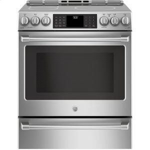 "GE Cafe Series 30"" Slide-In Front Control Induction And Convection Range With Warming Drawer"