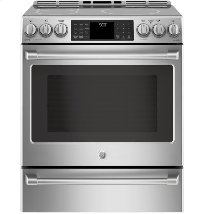 "GE Cafe™ Series 30"" Slide-In Front Control Induction and Convection Range with Warming Drawer Product Image"