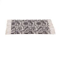 Block Print Grey Floral Bird 2'x3' Rug (Each One Will Vary). Product Image
