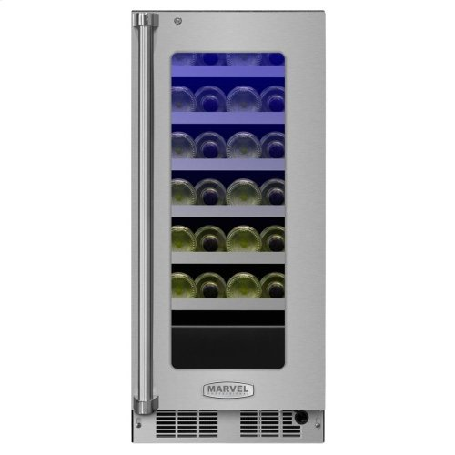 """15"""" High Efficiency Single Zone Wine Cellar - Stainless Frame, Glass Door With Lock - Integrated Left Hinge, Professional Handle"""