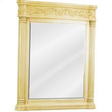 """33-11/16"""" x 42"""" Antique White mirror with hand-carved details and beveled glass"""