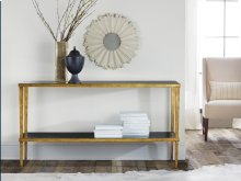 Wrought and Gilded Console W/ Black Glass