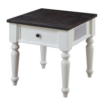 Emerald Home Mountain Retreat End Table Antique White Base W/brn Rustic Plank Top T6011