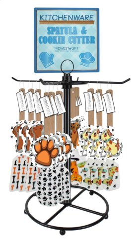 14 pc. assortment. Pet Spatula with Cookie Cutter & Counter Display
