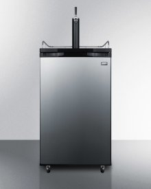 Freestanding Residential Beer Dispenser, Auto Defrost With Black Cabinet and Stainless Steel Door