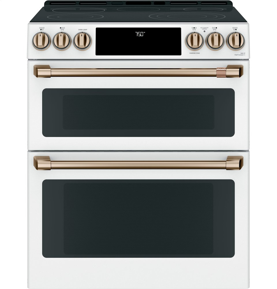 """Cafe Appliances30"""" Smart Slide-In, Front-Control, Radiant And Convection Double-Oven Range"""