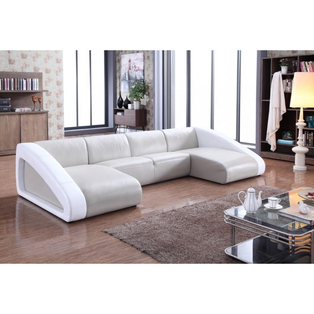 Divani Casa Pratt Modern Grey & White Leather Sectional Sofa