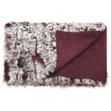 "Fur N9206 Burgandy/ivory 50"" X 70"" Throw Blankets"