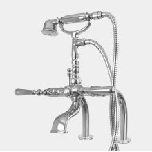 Exposed Deck Mount Telephone Tub Filler and Handshower Set with Straight Legs shown with Loire handles