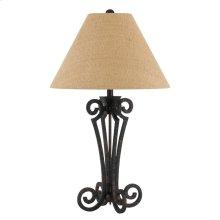 150W 3 Way Blacksmith Wrought Iron Table Lamp With Burlap Shade