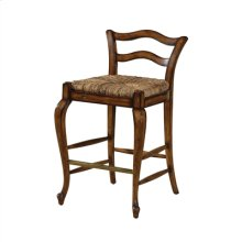 AVIGNON COTTAGE FINISHED COUNT ER STOOL WITH ABACA ROPE RUSH SEAT, BRASS FOOT REST