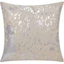 """Couture Nat Hide S6129 White/silver 18"""" X 18"""" Throw Pillow"""