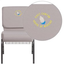 Embroidered HERCULES Series 21'' Wide Gray Dot Fabric Church Chair with 4'' Thick Seat, Book Rack - Silver Vein Frame