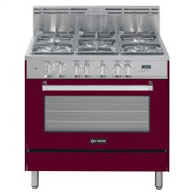 "Burgundy 36"" Dual Fuel Convection Range with Single Oven"
