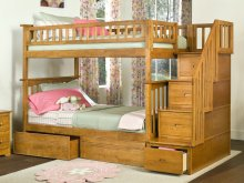 Columbia Staircase Bunk Bed Twin over Twin with Flat Panel Bed Drawers in Caramel Latte