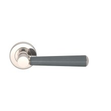 Tube Stitch Incombination Leather Door Lever In Slate Grey And Polished Nickel
