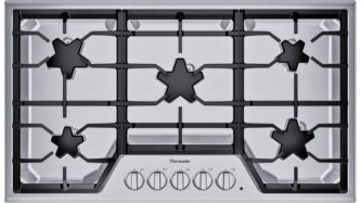 SGS365TS (R) offers an impressive 36-inch gas cooktop with 5 patented Star(R) burners, including a center-mounted power burner, and 58,200 BTUs of overall heat output. 36-Inch Masterpiece(R) Star(R) Burner Gas Cooktop