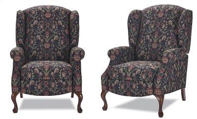High back recliner with Oak Queen Anne legs