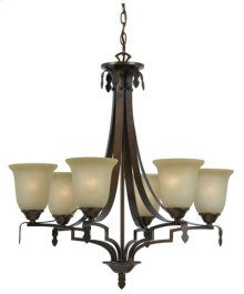 60W X 6 DABOIS HAND FORGED IRON 6 LIGHT CHANDELIER WITH GLASS SHADES