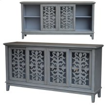 Hampton Brushed Grey 4 Sliding Door Media Console