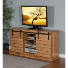 Rustic Oak Barn Door TV Console