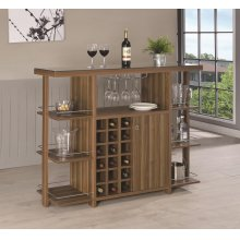 Modern Walnut Bar Unit With Wine Bottle Storage