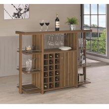 Modern Walnut Bar Unit With Wine Bottle Storage