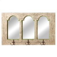 Distressed White & Green Arch Mirror with Hooks. Product Image