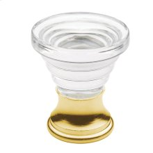 Polished Brass Crystal Cone Cabinet Knob