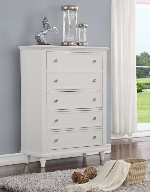 Emerald Home Home Decor 5 Drawer Chest-white B381-05wht