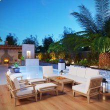 Marina 10 Piece Outdoor Patio Teak Set in Natural White