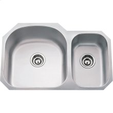 "304 Stainless Steel (18 Gauge) Undermount Kitchen Sink with Two Unequal Bowls. Overall Measurements: 31-1/2"" x 20-1/2"" x 9"""