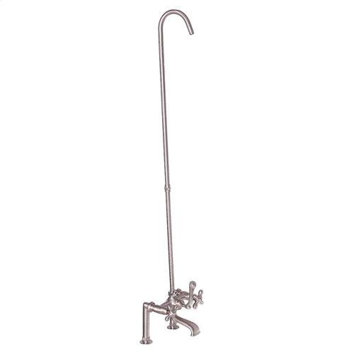 Tub Rim-Mounted Filler with Diverter and Riser - Lever with Finials / Polished Nickel