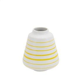 """Ceramic Striped Vase 6.5"""", White/yellow"""