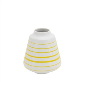 "Ceramic Striped Vase 6.5"", White/yellow"