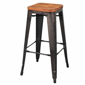 Metropolis Backless Bar Stool Wood Seat, Gunmetal