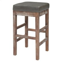 Valencia Bonded Leather Counter Stool Drift Wood Legs, Vintage Gray