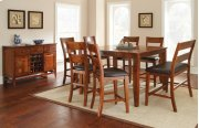 "Mango Counter Table, Light Oak 54""x36""x54"" w/18"" Butterfly LF with 4 chairs and bench Product Image"