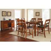 """Mango Counter Table, Light Oak 54""""x36""""x54"""" w/18"""" Butterfly LF with 4 chairs and bench Product Image"""