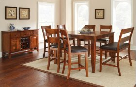 "Mango Counter Table, Light Oak 54""x36""x54"" w/18"" Butterfly LF with 4 chairs and bench"