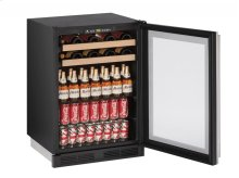 """1000 Series 24"""" Beverage Center With Stainless Frame Finish and Field Reversible Door Swing"""