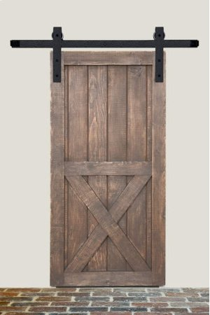 6' Barn Door Flat Track Hardware - Rough Iron Basic Style Product Image