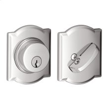 Single Cylinder Deadbolt with Camelot trim - Bright Chrome