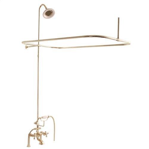 Tub/Shower Converto Unit - Elephant Spout, Shower Ring, Riser, Showerhead - Cross / Polished Brass