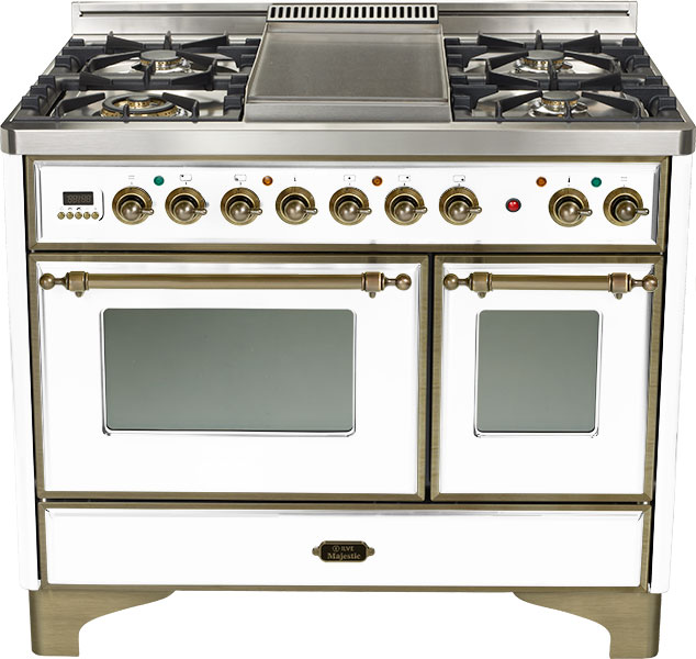 "True White 40"" 6 Burner Majestic Techno Dual Fuel Range