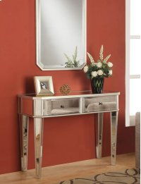 """Mirrored Console with """"Silver"""" Wood Product Image"""