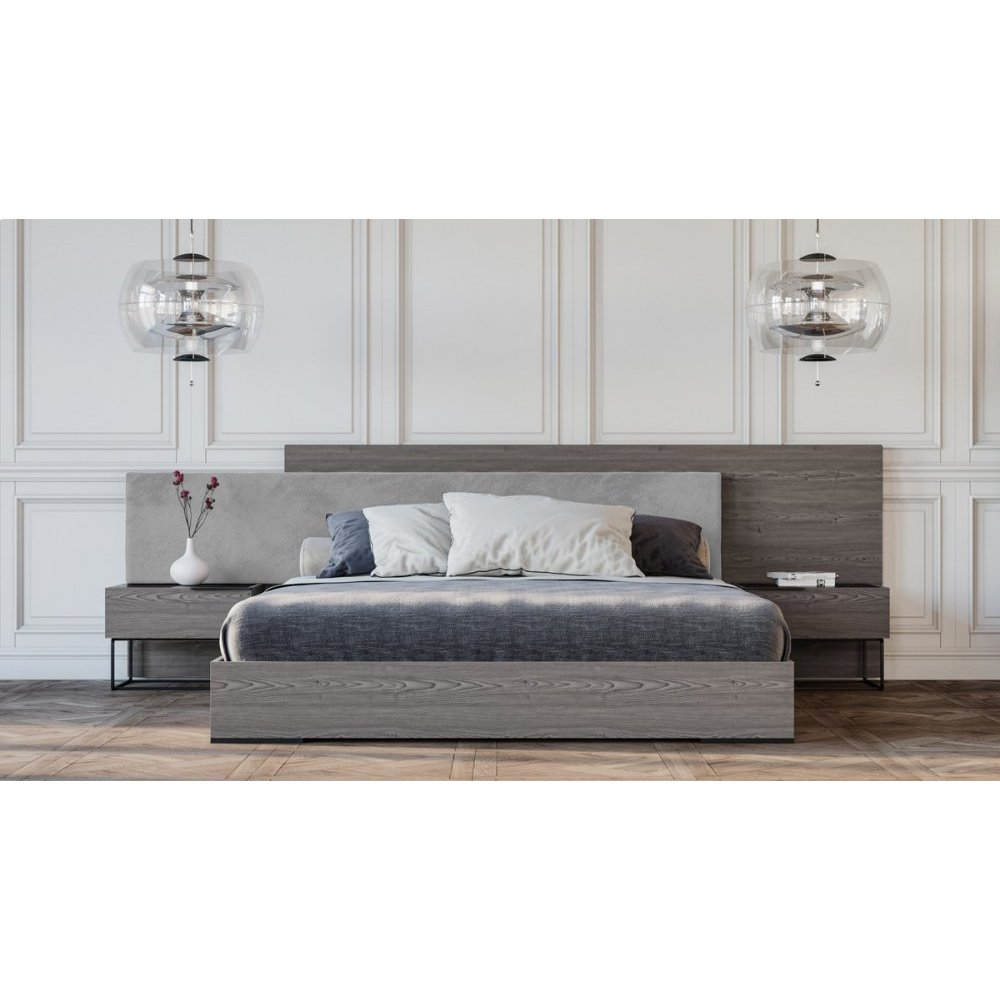 Nova Domus Enzo Italian Modern Grey Oak & Fabric Bed w/ Nightstands