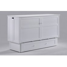 Murphy Cabinet Bed with Tri-Fold Queen Mattress and USB Charging Ports *White Finish*